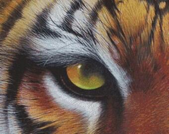 Tiger Cross Stitch,  David Finney Art,  'Eye of the Tiger' , Cross Stitch Kit, Counted Cross Stith, Tigers Eye Art, Modern Tiger Art