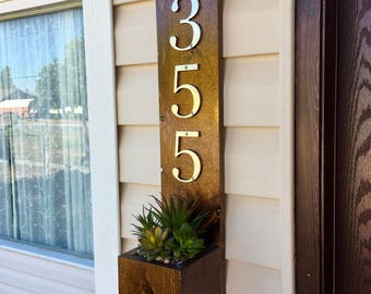 Address Sign, Address Box, Address Plaque, Address Planter Box, Rustic Address Sign, Succulent Planter, Welcome Sign, Rustic Home Decor