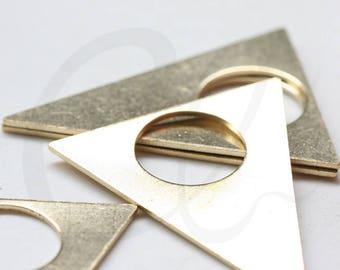 4 Pieces Raw Brass Triangle Pendant - 43x34mm (3754C-J-263)
