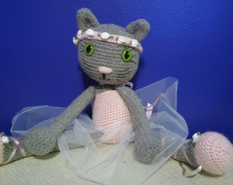 Crochet Ballerina Gray Kitty Cat Large Stuffed Animal Doll with White Tutu and Flower Bud Headband Easter or Birthday Gift Free Shipping