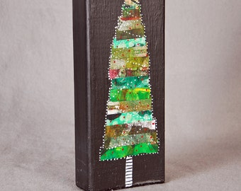 Tree Large Mixed Media Art Block 8x4x2
