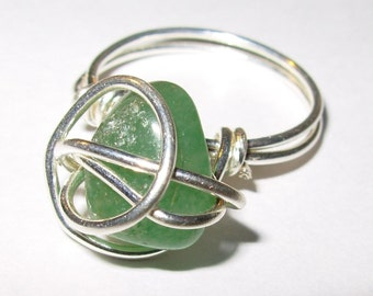 Silver-wrapped Green Stone Ring