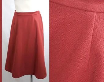 Vintage 70's Skirt Midi A-line Knee Length Mod/GoGo Coral Red UK16 EU42/44