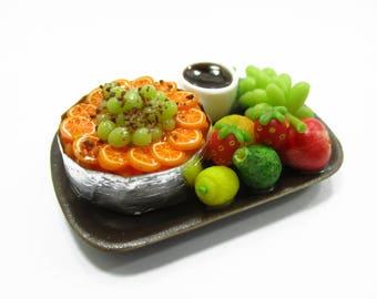 Dollhouse Miniatures Food 1:12 Fruit Cake Fresh Fruit Coffee Ceramic Set Supply Charms 13938