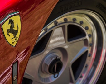 Poster of Ferrari F40 Wheel Front Red Close Up HD Print