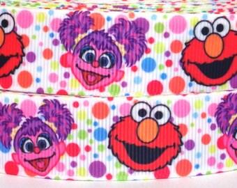 """Elmo and Abby Cadabby 1"""" Grosgrain Ribbon - 3 yards Elmo and Abby Ribbon - Sesame Street Ribbon - Elmo and Abby Grosgrain Ribbon"""