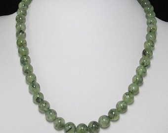Necklace 19 inch IN Prehnite 10mm and 925 Silver