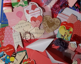 Valentines Junk Journal Kit # 2 with Vintage Valentine cards/ Valentines Paper Ephemera, Scrap-booking Embellishment's/ over 100 piece's