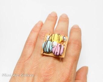 Ice-cream Waffle ring / mini food ring, mini foodie jewelry / pink blue yellow / miniature sweet dessert chocolate / handmade polymer clay