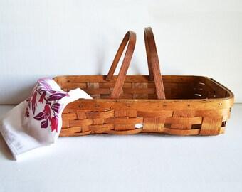 Vintage Gathering Basket   Woven Wood Basket   Wooden Handles   Primitive Rustic Basket   Farmhouse Style