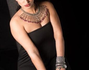 Silver Fringe Necklace,Ruby Onyx necklace,Large Bib Necklace,Statement Jewelry,Taneesi Necklace ,Tribal jewelry,boho chic,Gypsy by Taneesi