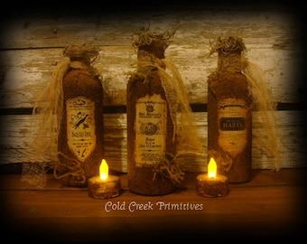 Primitive Potion Bottles/ Apothecary Bottles Set of 3