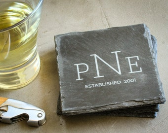 Monogrammed Coaster Set, Custom Engraved Slate Coasters, Personalized Coasters: Wedding Shower, Housewarming Gift, Custom Home Decor