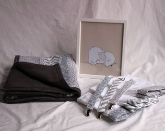 Gray and White Baby Blanket, Burp Cloths, Pacifier Clips Gift Set