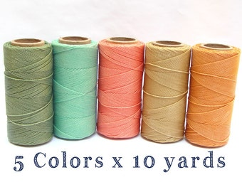 Waxed Cord - Linhasita - Macrame Cord - Waxed Polyester Thread - Set of 5 Colors - 10 yards each - PASTEL