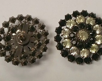 Swarovski Crystal and Jet Black  Buttons in a row of 4 discs shanked (2)
