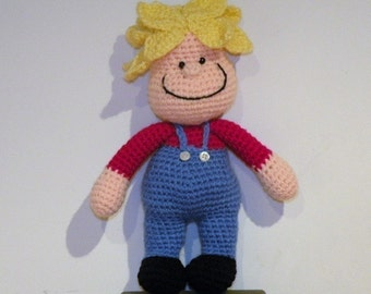 PDF - INSTANT DOWNLOAD Miguelito a Mafalda's friend, 10.8 inch / 27 cm - amigurumi doll crochet pattern. English or Spanish language
