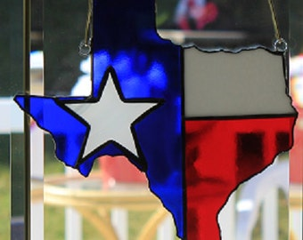 Stained glass Lone Star State suncatcher wall decor
