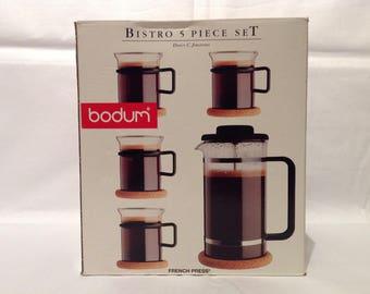 "Iconic 1987 Bodum K1528 ""Bistro"" French Press Coffee Set with Cork Coasters & Warmer Wrap. 32oz-1 litre. French Press Coffee Jug and Glasses"