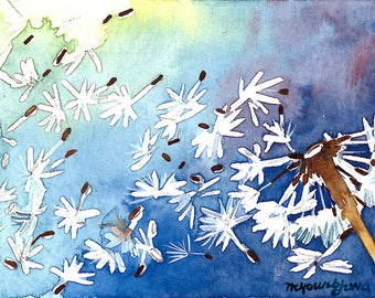 ACEO Limited Edition 2/25 - Blowing in the wind, Dandelion, Art print of an original ACEO watercolor painted by Anna Lee