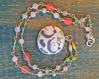 Antique Chinese Pottery Pendant Necklace