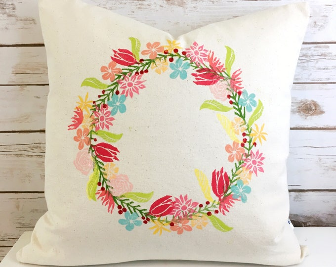 Easter gift flower wreath pillow cover organic handprinted one of a kind colorful toss cushion floral throw pillow gift for Mother's Day