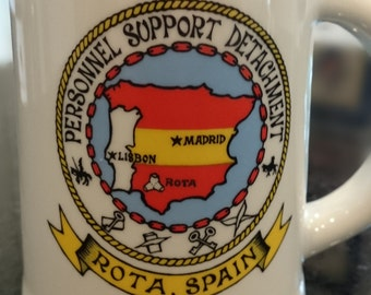 Vintage Military Beer Stein/Mug/Rota Spain/Personnel Support Detachment/Ceramicas Cartagena Maribel/Man Cave/Military Collectible
