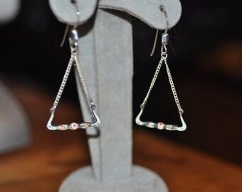 Enamel and Sterling Vintage Dangle Earrings