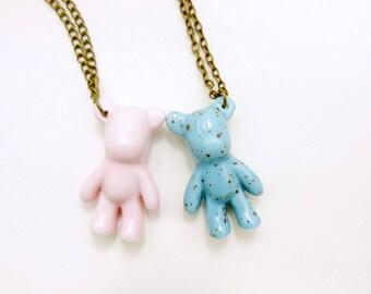 best friends necklace,  Porcelaine Necklace, bear necklace