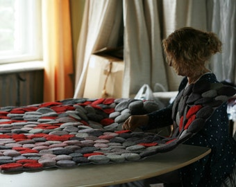 Hand felted red,grey stones rug 1.4m x 2.1m