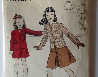 Vogue 2311 Girls Jacket and Skirt Size 8 Vintage 1940's