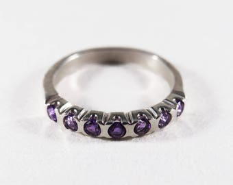 Sterling Silver Amethyst Stack Band