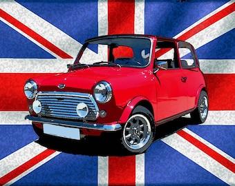 Mini Cooper retro advertising sign.