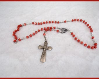 Vintage Rosary beads coral Central religious Medal and crucifix Catholic devotional object Jésus Christ vintage France