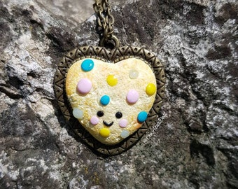Necklace heart cookie polymer / fimo