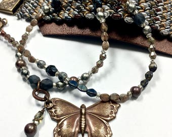 Black Butterfly Necklace, Beaded Glass and Brass Jewelry, Coordinated Jewelry
