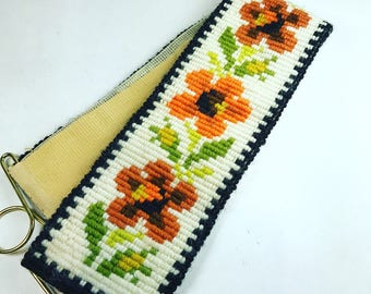 Vintage Crewel Embroidery Flower Power Boho 1970s Wall Hanging