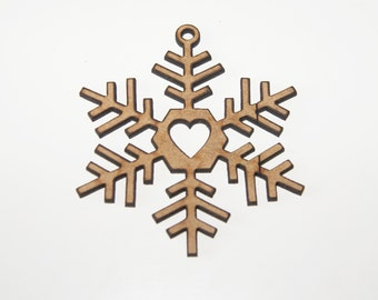 Christmas Snowflake Hanging Decorations Laser Cut Craft 65mm