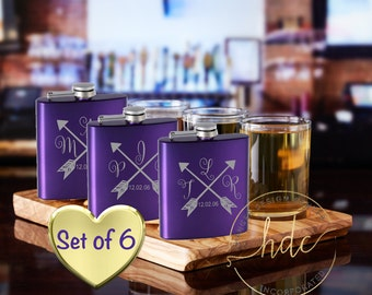 SIX bridal party flasks,monogrammed girls flask ,  bridesmaid gifts , wedding party gifts, ladies flasks,