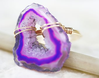 Druzy Ring - Geode Ring - Agate Slice Ring - Colorful Ring - Statement Jewelry