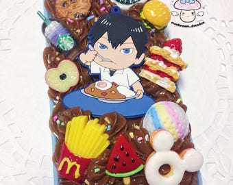 CLEARANCE SALE iPhone 6/6S case - Ready to Ship - kawaii Haikyuu boy Tobio Kageyama Foodie decoden case