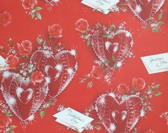 Vintage Norcross VALENTINE's Day Gift Wrap - Wrapping Paper - HEARTS and ROSES - 1950s