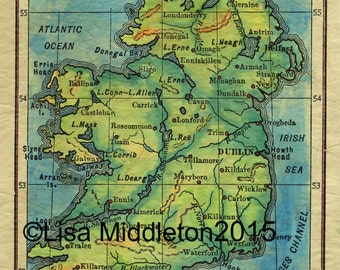 Vintage Ireland Map, Ireland Map, Ireland Map for Framing, Irish Map, Emerald Isle, Family Heritage Gift, Irish Gift, Ireland decor, Ireland