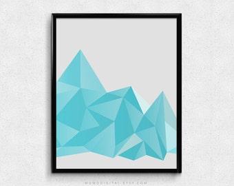 SALE -  Polygonal Mountains, Blue Ombre, Geometric Print, Geometry Poster, Dorm Decor, Mathematic, Baby Boy Nursery, Modernism