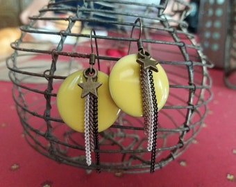 Yellow sequin earrings