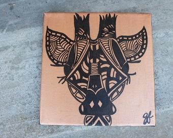 Giraffe Gold Malerei, Giraffe, schwarz und Gold, kleine Malerei, metallische