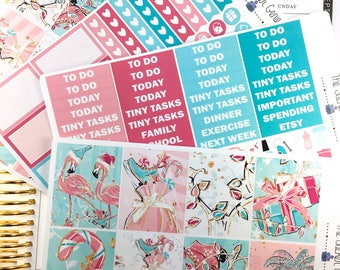 christmas flamingo Weekly Kit | Planner Stickers, Weekly Kit, christmas Weekly Kit, Vertical Planner Kit, Full Weekly Kit, winter weekly kit