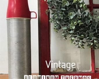 Vintage RED & Aluminum Thermos - Summer Camping Season Fun!