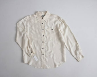 bone silk blouse | white long sleeve silk shirt | collared silk blouse