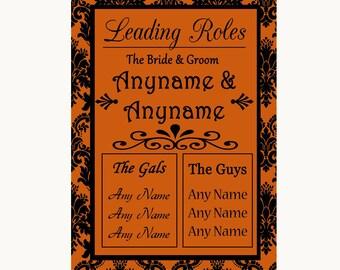 Burnt Orange Damask Who's Who Leading Roles Personalised Wedding Sign